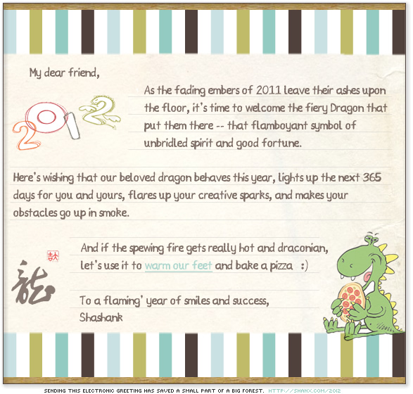 To a flamin' year of smiles, 2012!